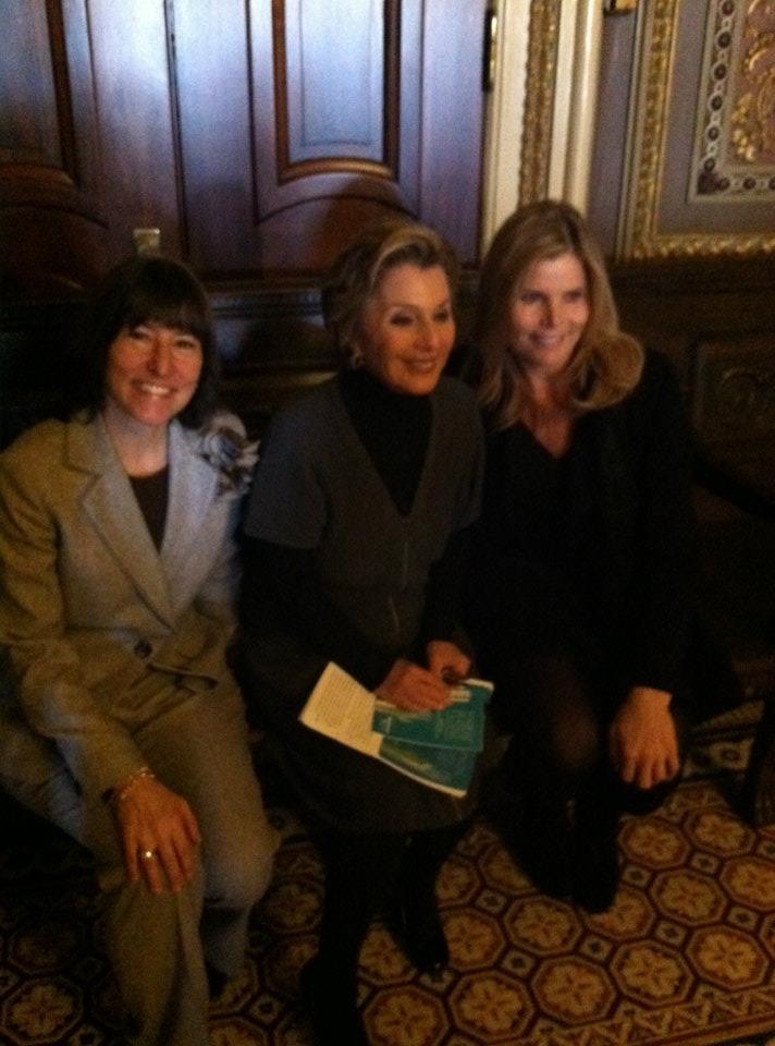 Sallie Fraenkel from SpaFinder, Sen. Barbara Boxer and Mariel Hemingway, spokesperson for Wellness Week