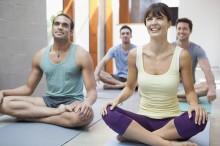 Yoga class --- Image by © Laura Doss/Corbis