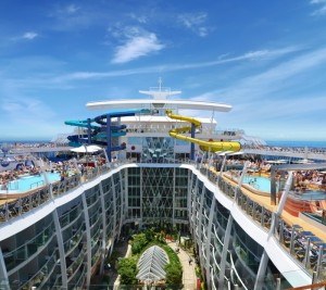 Royal Caribbean's Harmony of the Seas targets younger cruisegoers with exciting elements such as rock climbing, zip lining, and multistory water slides.
