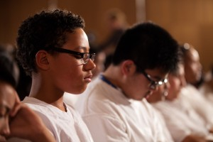 Students practice Transcendental Meditation as part of the David Lynch Foundation's Quiet Time program.