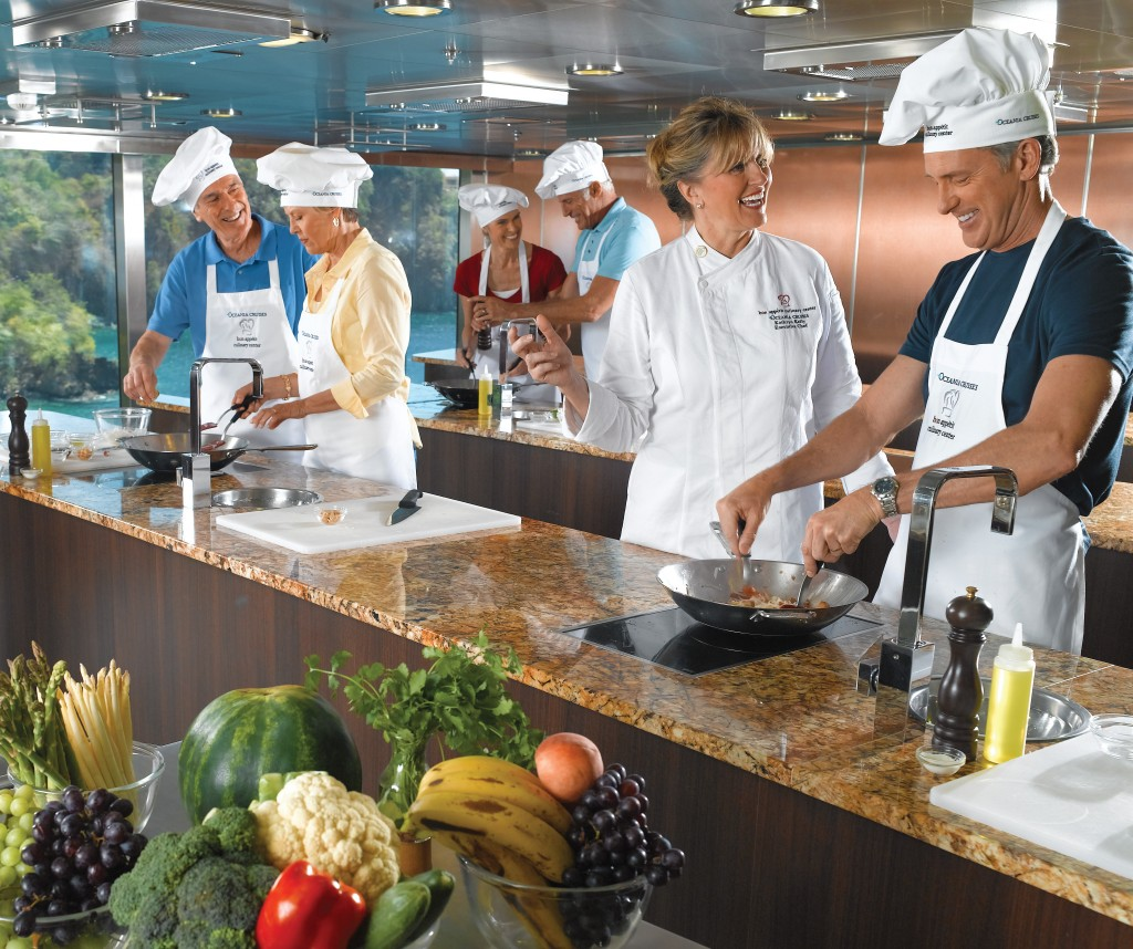 Foodies are well-served on select cruises, as ships dish up everything from local eating guides to culinary centers to cooking immersion programs. Oceania Cruises' two-day Culinary Boot Camp at Sea accentuates in-depth, intense, and personalized instruction.
