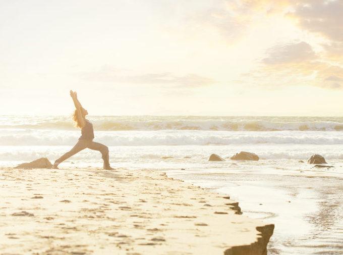 Beach yoga at Miraval Californi