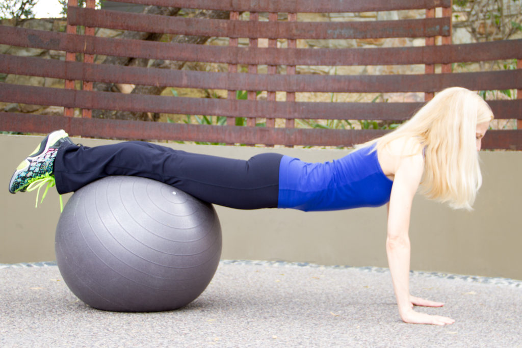 Stability ball push up