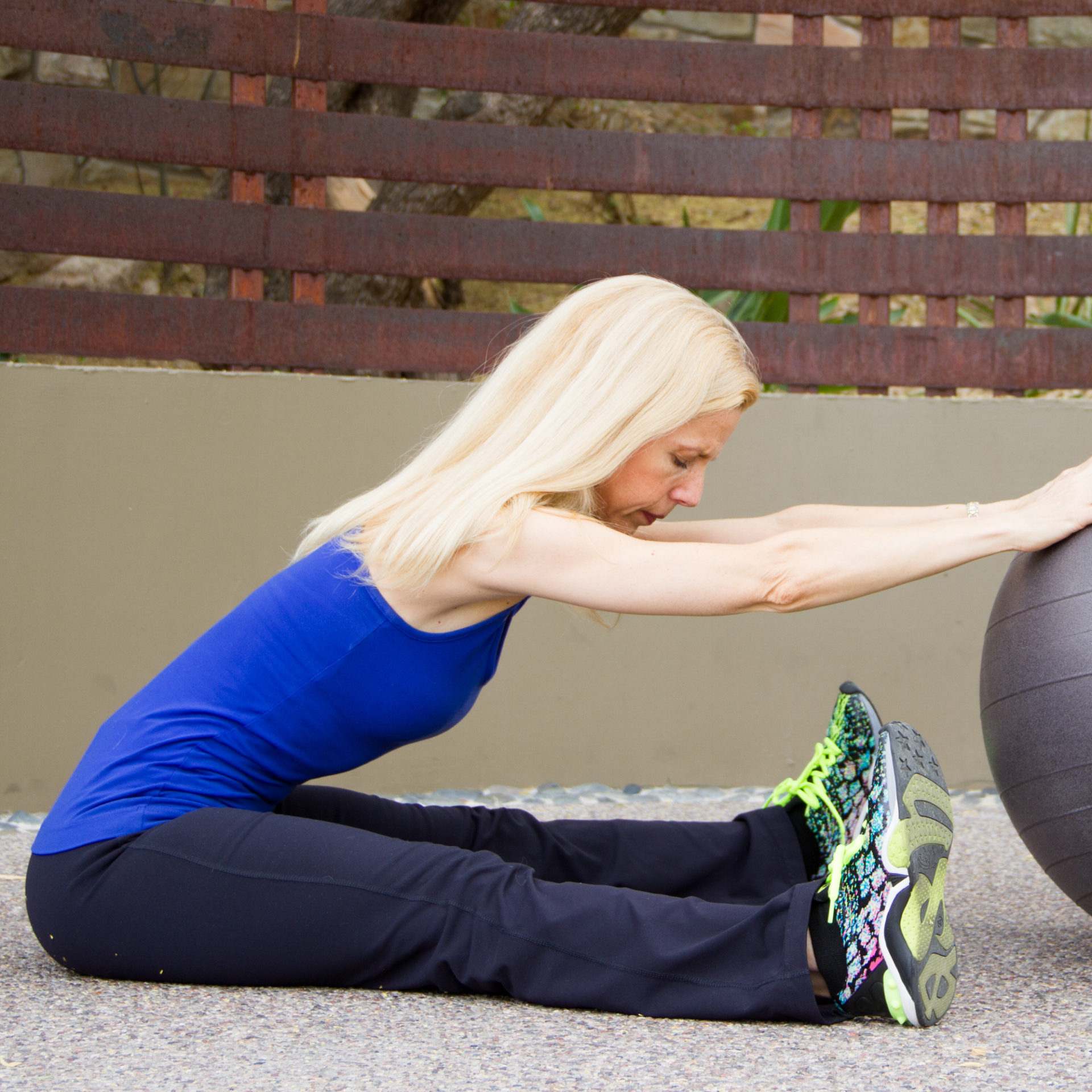 Stability ball workout series seated stretch