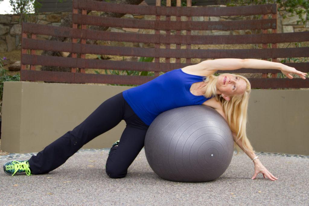 stability ball side stretch