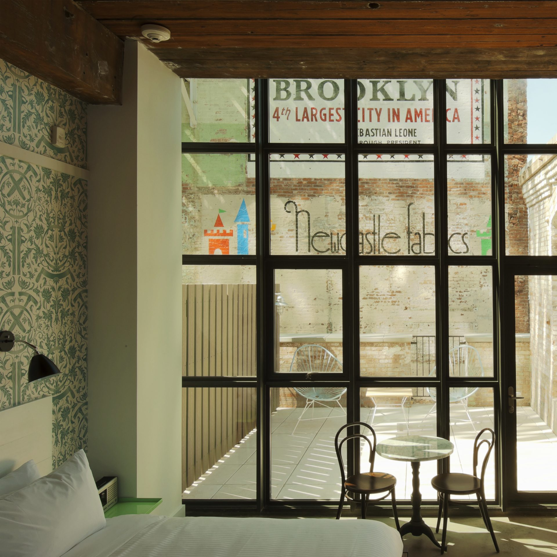 guest room at the Wythe Hotel