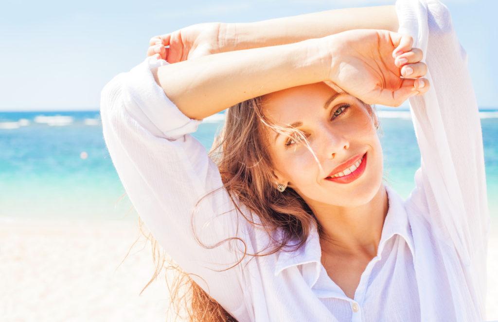 Portrait of pretty women on a beach