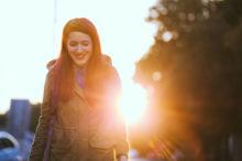 Digital Detox Girl Walking Outdoors